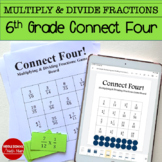 6th Grade Connect Four Multiplying and Dividing Fractions Math Game