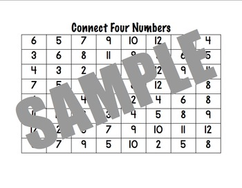 Connect Four Numbers Addition