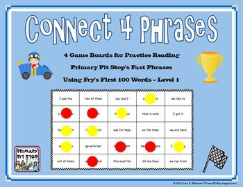 "4 ""Connect Four Phrases"" Game Boards for Fry's FIRST 100 Sight Words"
