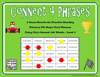 "4 ""Connect Four Phrases"" Game Boards for Fry's SECOND 100 Sight Words"