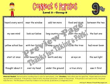 "4 ""Connect Four Phrases"" Game Boards for Fry's THIRD 100 Sight Words"