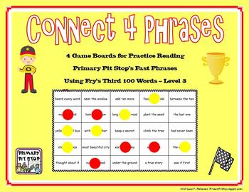 """4 """"Connect Four Phrases"""" Game Boards for Fry's THIRD 100 Sight Words"""