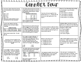 Connect Four - Rate Ratios and Proportions
