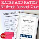 6th Grade Connect Four Rates and Ratios Math Game - printed and digital