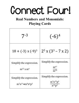 Connect Four: Real Numbers and Monomials - 8th Grade Math