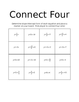 Connect Four Rearranging Linear Equations