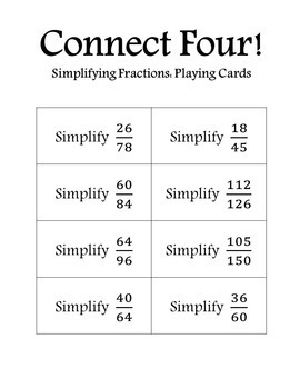 Connect Four: Simplifying Fractions