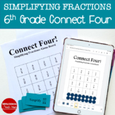 6th Grade Connect Four Simplifying Fractions Math Game - printed and digital