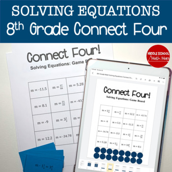 Connect Four: Solving Equations - 8th Grade Math