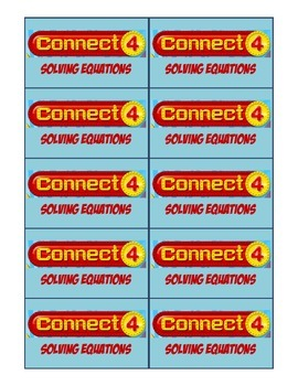 Connect Four Solving Equations Task