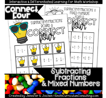 Connect Four Subtracting Fractions Game |  Includes Improper and Mixed Numbers