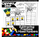 Connect Four Subtracting Fractions Game |  Includes Improp