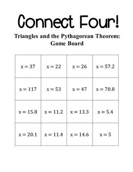 Connect Four: Triangles and the Pythagorean Theorem - 8th Grade Math
