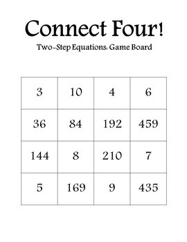 Connect Four: Two-Step Equations