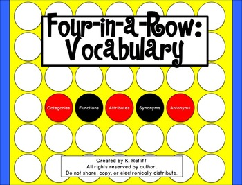 Four-in-a-Row:  Vocabulary Game