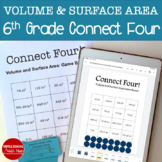6th Grade Connect Four Volume and Surface Area Math Game - printed and digital