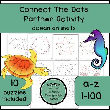 Connect The Dots Communicative Partner Activity, Alphabet / Numbers, Ocean Theme