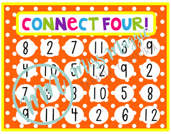 Connect four mats simple addition practice