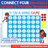 Connect four review game Template- editable (Four in a row
