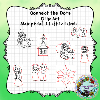 Connect the Dots Clip Art: Mary had a Little Lamb