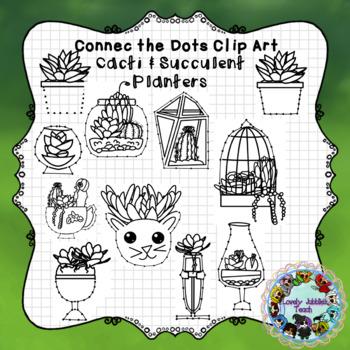Connect the Dots Clip Art: Succulent Planters and Pots