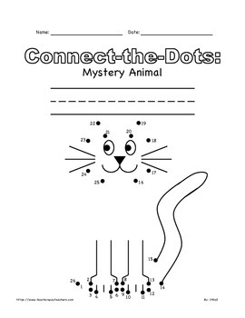 Connect the Dots Mystery Animal (Cat) FREE K-3rd Grade