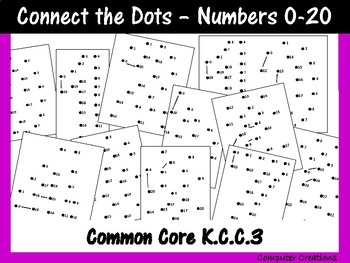 Maths Connect the Dots Numbers 0-20 Common Core Aligned K.C.C.1 K.C.C.3