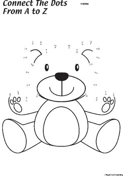 Connect the Dots Teddy Bear Coloring Worksheet