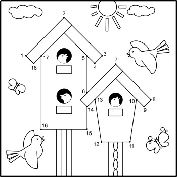 Connect the Dots and Coloring Page with Birdhouses, Commercial Use Allowed