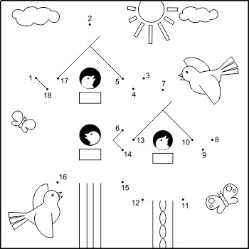 Connect the Dots and Coloring Page with Birdhouses, Commer