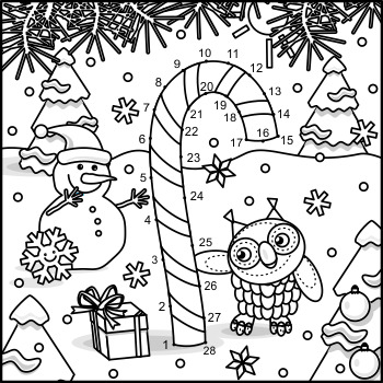 Connect the Dots and Coloring Page with Candy Cane, Commercial Use Allowed