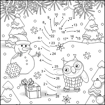 Connect the Dots and Coloring Page with Candy Cane, Commer