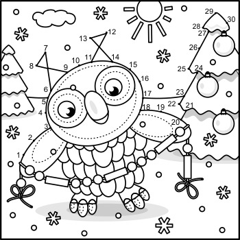 Connect the Dots and Coloring Page with Christmas Owl 2, Commercial Use Allowed