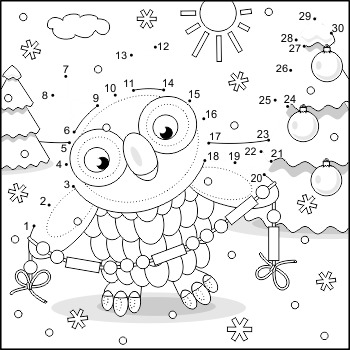 Connect the Dots and Coloring Page with Christmas Owl 2, C