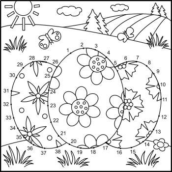 Connect the Dots and Coloring Page with Easter Eggs, Commercial Use Allowed