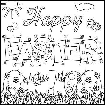 Connect the Dots and Coloring Page with Easter Greeting, Commercial Use Allowed