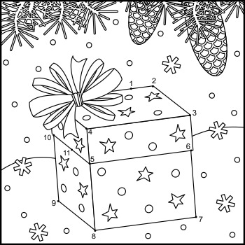 Connect the Dots and Coloring Page with Gift Box, Commercial Use Allowed