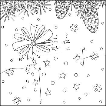 Connect the Dots and Coloring Page with Gift Box, Commerci