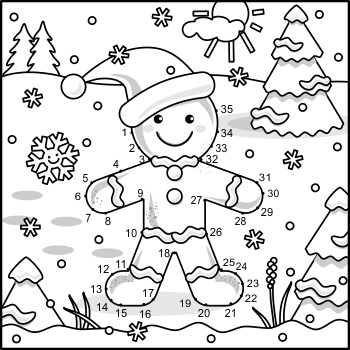 Connect the Dots and Coloring Page with Ginger Man, Commercial Use Allowed