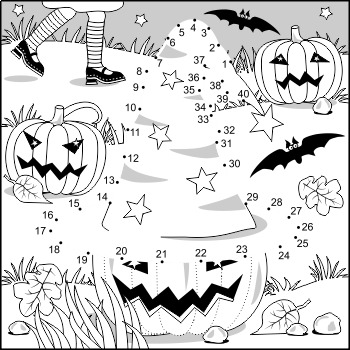 Connect the Dots and Coloring Page with Halloween Hat, Commercial Use Allowed