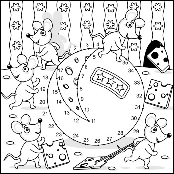 Connect the Dots and Coloring Page with Mice and Cheese, Commercial Use Allowed