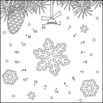 Connect the Dots and Coloring Page with Ornament, Commercial Use Allowed