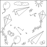 Connect the Dots and Coloring Page with Paper Plane, CU and Non-CU