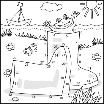 Connect the Dots and Coloring Page with Rubber Boots, Commercial Use Allowed