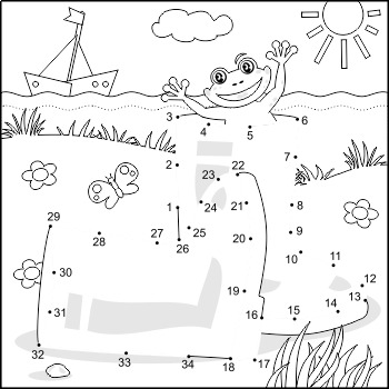 Connect the Dots and Coloring Page with Rubber Boots, Comm