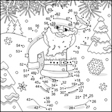 Connect the Dots and Coloring Page with Santa Klaus, Commercial Use Allowed