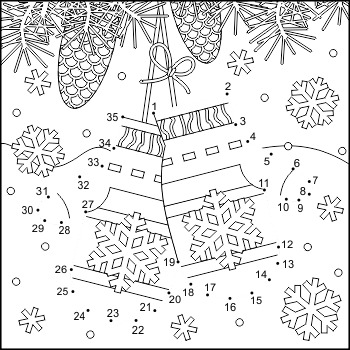 Connect the Dots and Coloring Page with Santa's Mittens, Commercial Use Allowed