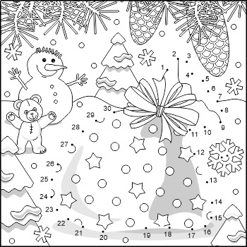 Connect the Dots and Coloring Page with Santa's Sack, Comm