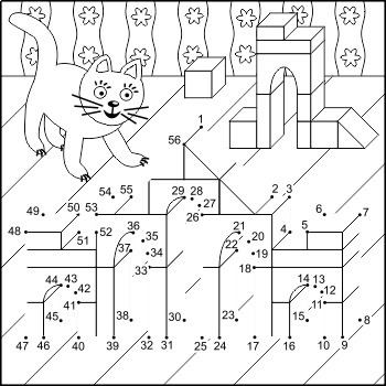 Connect the Dots and Coloring Page with Toy Buildings, Commercial Use Allowed