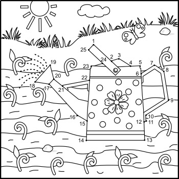 Connect the Dots and Coloring Page with Watering Can, Commercial Use Allowed